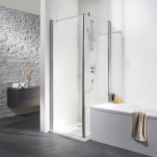 HSK Exklusiv - Wegschwenkbare Seitenwand zum Drehtür 01 alu-natur Sonderanfertigung 56 carré